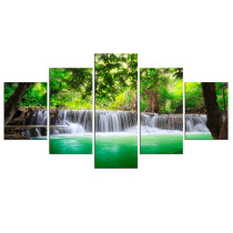 Amosi Art-5 Panels Wall Art Canvas Painting Green Forest Waterfall Picture Printed on Canvas For Living Room Home Decor