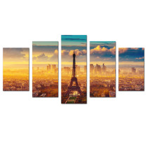 Amosi Art-5 Panels Wall Art Canvas Painting Paris scenery City Landscape Picture Printed on Canvas For Living Room Home Decor