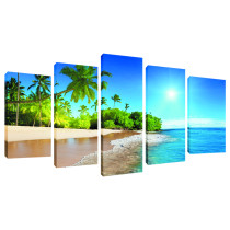 Amosi Art-5 Panels Wall Art  Coconut tree Island scenery Canvas Painting For Home Living Room Decoration