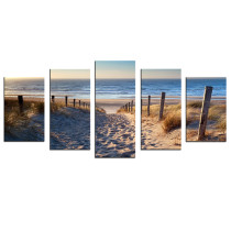 Amosi Art-5 Panels Wall Art Canvas Painting Beach path picture for home decoration