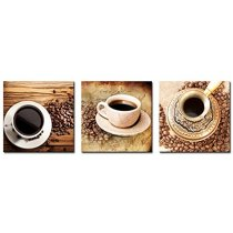 Amosi Art Canvas Wall Art Coffee Cup and Coffee Beans Picture Print on Canvas For Home Decoration Stretched Framed
