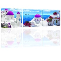 Amosi Art 3 Panels Aegean Scenery Canvas Print Wall Art Painting Seascape Wall Picture Canvas Painting For Home Living Room Decor Framed Artworks