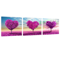 Amosi Art-3 Panels Pink Heart - type Tree Picture Canvas Printings  Modern Landscape for home decor Wall Art