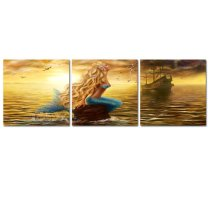 Amosi Art-3 Panles Beautiful Princess Sea Mermaid Picture Canvsa Printings Seaside Painting Wall Art For Home Decor Stretched And Framed