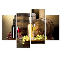 Amosi Art-4 panels Wooden Wine Barrels Of Picture Canvas printings  for Dining roomDecorations Wall Decor