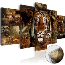 Amosi Art-5 Panels Wall Art Light Shadow Tiger head with Abstract Background Canvas Painting For Home Living Room Decoration