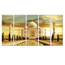 Amosi Art-5 Panels India Taj Mahal Picture Canvas PrintsGiclee Artwork Modern Painting Wall Art For Home Decoration