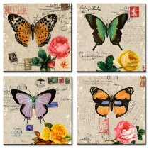 Amosi Art-4 Pieces Canvas Prints Wall Art Butterfly with Retro stamps Background Artworks Modern Abstract Paintings For Living Room,Bedroom Home decoration