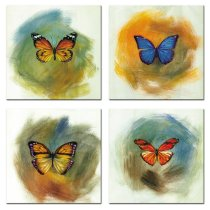 Amosi Art-4 Pieces Canvas Prints Wall Art Butterfly with  Abstract Background Artworks Painting For Living Room,Bedroom decoration
