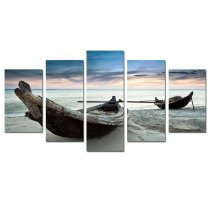 Amosi Art-5 PCS Canvas Printings Seascape Wooden Boat on the beach Picture Painting Giclee Artworkfor Living Room Home Decoration