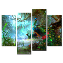 Amosi Art-4 Pieces Wall Art  a peacock In the forest of Picture Canvas Prints For Home Decoration