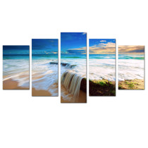 Amosi Art-5 Panels Modern Bule Seascape Sky Beach waterfall Painting Canvas Prints Artwork for Home Decoration