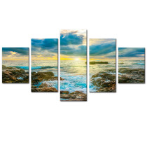 Amosi Art-5 Panels Modern Bule Seascape Sky The sea View of Dusk Painting Canvas Prints Artwork for Home Decoration