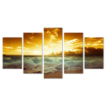 Amosi Art-5 Panels Modern Seascape The sea View of Dusk Painting Canvas Prints Artwork for Home Decoration