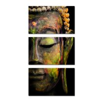 Amosi Art-Wall Art  Modern Golden Buddha Head Portrait Painting Canvas Prints Religion Triptych Home Decoration Wall Murals Ready to Hang