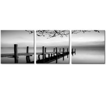 Amosi Art-3 panels Black and White Landscape Giclee Canvas Prints on Canvas Wall Art Modern Stretched and Framed Pictures Paintings Artwork for Living Room Bedroom Home Decoration