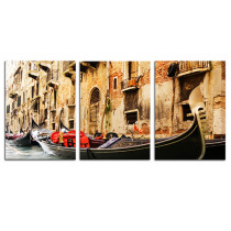 Amosi Art-3 Panels Artwork Water City of Venice, Italy Pictures Painted On Canvas Modern Seascape Home Office Decor