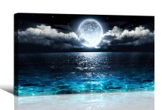 Amosi Art-Wall Art Moon Sea Ocean Landscape Picture Canvas Wall Art Print Paintings Modern Artwork for Living Room Wall Decor and Home Décor Framed Ready to Hang