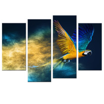 Amosi Art-4 Panels Parrots Picture Printed on Canvas Animals Painting Giclee Artwork Stretched and Framed Canvas Wall Art for Home Decor