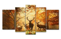 Amosi Art-5 Panel Wall Art Painting Deer In Autumn Forest Pictures Canvas Prints For Home Modern Decoration