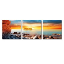 Amosi Art-3 Panels Seascape Canvas Painting Modern Wall Art Painting Giclee Artwork With Stretched And Framed For Home Living Room Decor
