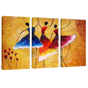 Amosi Art-Canvas Prints 3 Panels Beautiful Ballet Dance Abstract Spain Dance Picture Wall Art Stretched by Framed Ready to Hang for Living Room Home Decorations