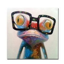Amosi Art-1 Panels Wall Art Hand-painted Oil painting of The Frogs are wearing glasses for Living Room Home Decor wth stretch frame