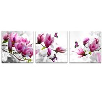 Amosi Art-canvas Prints, Pink Flower 3 Panels Stretched Canvas Framed Wall Art