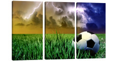 Amosi Art-3 Panles Modern Wall Art Football on the grass of HD Picture Canvsa Printings For Home Decor with Stretched And Framed