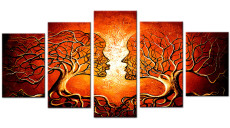 Amosi Art-5 Panels Wall Art Abstract Two Girls Kiss Trees Oil painting Print on Canvas For Living Room Decoration
