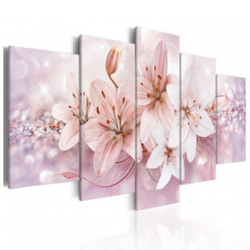 Amosi Art-5 Panels Pink Lily flower with Starlight Sand and Stone Background Canvas Printings for Home Decoration