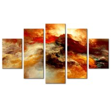 Amosi Art-5 Panels Wall Art Painting Abstract Colorful Sea Wave Picture Canvas Prints Giclee Artwork for Modern Home Decor Framed Ready to Hang