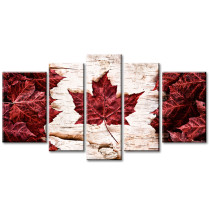 Amosi Art-5 Panels Wall Art Modern Canadian Red Maple Leaf Canvas Prints Modern Artwork for Home Room Decoration