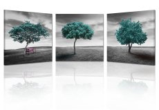 Amosi Art-3 Panels Green Tree Picture canvas printings  Modern Landscape for home decor Wall Art