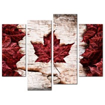 Amosi Art-4 Panels Wall Art Modern Canadian Red Maple Leaf Canvas Prints Modern Artwork for Home Room Decoration