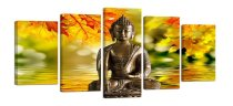 Amosi Art-Canvas Wall Art 5 Panels Buddha with Maple leaf lake background Canvas Prints Framed Artwork Ready to Hang for Living Room Bedroom Office Decor Gifts