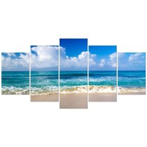 Amosi Art-Canvas Prints Wall Art Ocean Sea Beach Landscape Pictures Paintings for Bathroom Home Decorations 5 Piece Modern Stretched and Framed Seascape Giclee Artwork