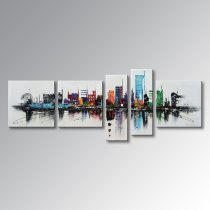 Amosi Art-5 Panels Modern Contemporary Cityscape Artwork Hand Painted Abstract Pictures Stretched Wood Framed Oil Paintings on Canvas Wall Art Décor for Living Room Home Decoration