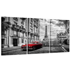 Amosi Art-3 Panels Modern Giclee Canvas Prints Paris Black and White with Eiffel Tower Red Car Wall Art Landscape Wall Decor Paintings on Canvas Stretched and Framed