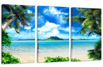Amosi Art-Large Canvas Print Wall Art – CARIBBEAN ISLAND – 48x30 in (3 pcs) Beach Landscape Canvas Picture Stretched On A Wooden Frame – Giclee Canvas Printing – Hanging Wall Deco Picture