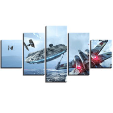 Amosi Art-Canvas Paintings Wall Art Framework Millennium Falcon Pictures 5 Pieces Star Wars Movie Posters HD Prints For Living Room Decor