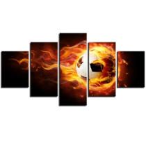 Amosi Art Canvas Pictures Home Decor For Bedroom Wall Art 5 Pieces Art fireball football HD Prints Paintings Framework
