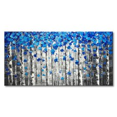 Amosi Art-Large Abstract Forest Wall Art Hand Painted Modern Blue Tree Oil Painting on Canvas
