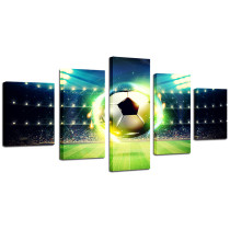 Amosi Art-Painting Framework Art Poster Wall 5 Panel Soccer Modern Modular Picture Home Decoration Print On Canvas For Living Room