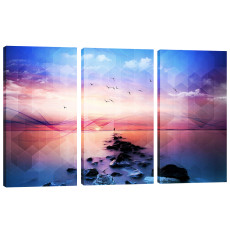 Amosi Art-Wall Art Modern Square Sea View 3 Panels Canvas Prints Giclee Artwork  For Home Living Room Decor