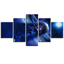 Amosi Art Canvas Paintings Home Decor Wall Art HD Prints Pictures 5 Pieces Blue Cosmic Starry Sky Canvas Prints For Living Room Pictures