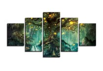 Amosi Art - 5 Panels Wall Art Green Forest Art Light Canvas Print Wall Art Painting For Living Room Decor And Modern Home Decoration