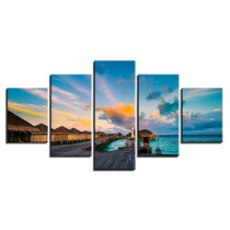 Amosi Art-HD Printed Modern Canvas Living Room Pictures Home Decor 5 Panel Sunrise Seascape Painting Wall Art Modular Poster Framework