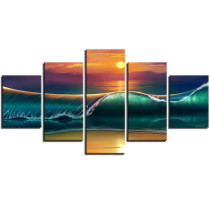 Amosi Art-Wall Art 5 Panel Beautiful Seascape green Waves in the morning Pictures For Living Room Decoration