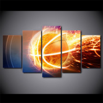 Amosi Art-Modern Wall Art Canvas HD Prints Frame Modular Abstract Poster 5 Piece Fire Flame Basketball Painting Home Decor Pictures